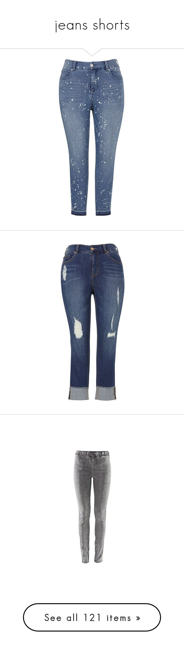 """""""jeans shorts"""" by nanette-253 ❤ liked on Polyvore featuring plus size women's fashion, plus size clothing, plus size jeans, blue, paint splatter skinny jeans, blue skinny jeans, zipper jeans, paint splatter jeans, melissa mccarthy seven7 and destruction jeans"""