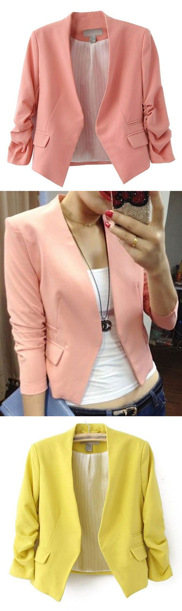 Cute Blazer in Coral / Peach / Apricot and Yellow