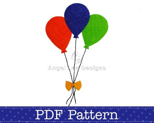 Balloons Template. Bunch of Balloons Applique Pattern. PDF Template