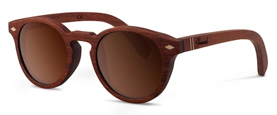 Shwood - Florence  Haystack sunglasses.  The 'Florence' has a rounded and classic shape, made from Santos Mahogany with subtle Quilted Maple inlays. There's also the 'Haystack' which is a bolder silhouette and is crafted from East Indian Rosewood and featuring Black Locust or Walnut burl inlays on the temples. Both have fine attention to detail with subtle accents, and are paired with two different polarised lenses.