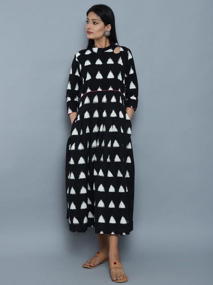 Black Ikat Cotton High Neck Maxi Dress