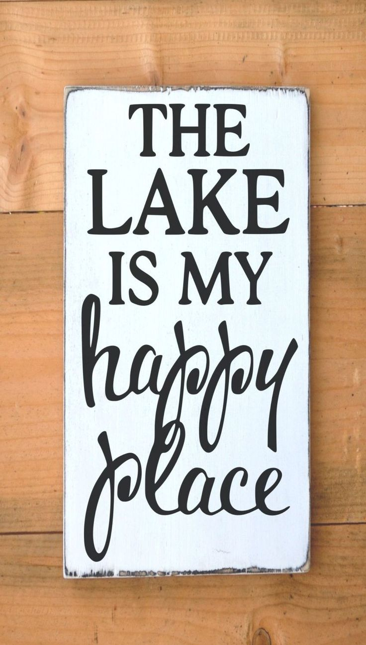 The Lake Is My Happy Place Lake House Decor Painted Custom Wood Sign - NO VINYL Welcome! Each sign is custom made at the time of ordering. It is a 100% painted rustic wood sign with NO VINYL used. All