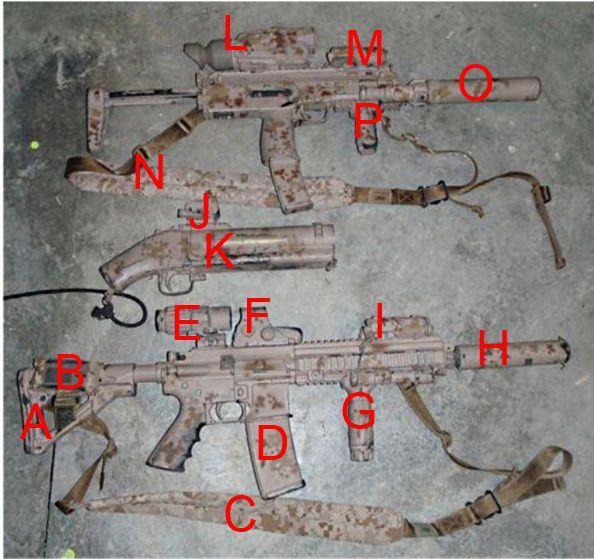 DEVGRU (Seal Team 6) Osama bin Laden raid setup: HandK 416: A)Magpul CTR stock  B)Garmin Foretrex 401 in a wrist pouch  C)VTAC padded sling in AOR1 D)Magpul E-Mag E)Aimpoint 3X magnifier F)EOTech 551 HWS G)Tango Down vertical grip H)Suppressor I) PEQ-15  Pirate Gun (Cut down M79): J)Doctor MRDS  H MP7: L)Thermal Sight M)PEQ-15 N)VTAC padded sling in AOR1 O)HandK MP7 suppressor P)Tango Down VFG on a Wilcox rail