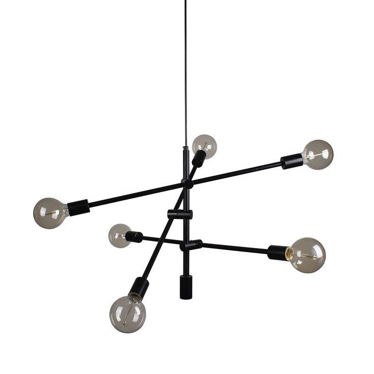 Original lámpara de suspensión con estructura de acero tintado en negro y cable de suspensión forrado en tela.