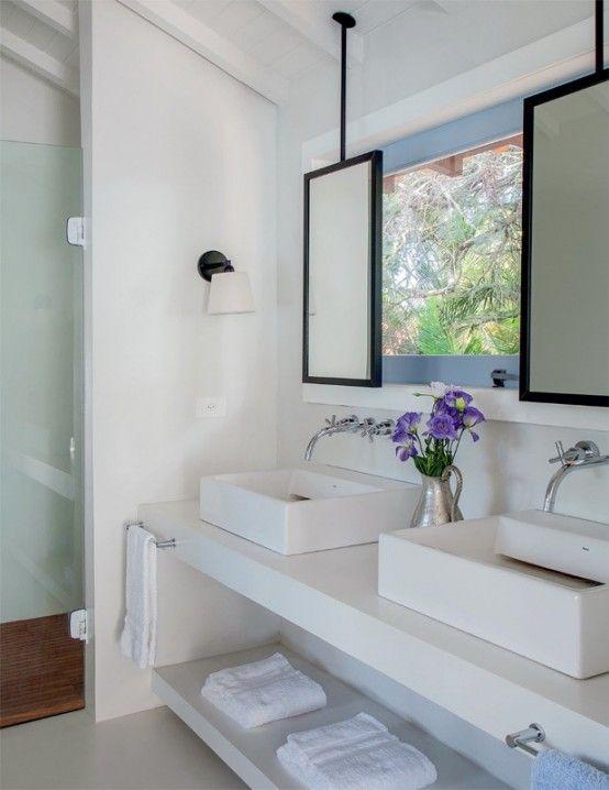 Simple Yet Cozy White Bungalow In Brazil   DigsDigs · Mirror In  BathroomBathroom ...