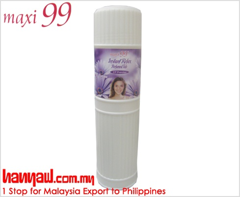 Visit- http://www.hanyaw.com.my/Products/Maxi_99_Instant_Relax_Perfumed_Talc.html