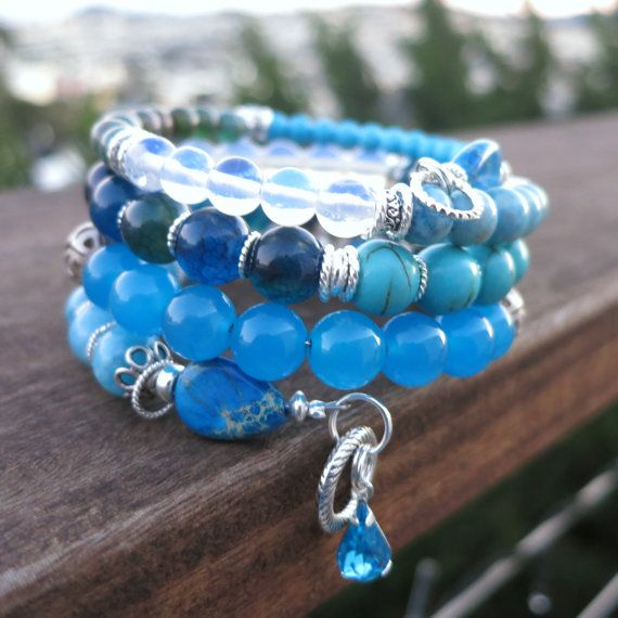 Blue and Silvery Dreams  memory wire bracelet by BlooMoonJewelry