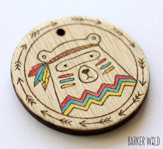 Tribal Bear Watercolour Pyrography Wearable Art Wood Pendant Necklace Woodland Animal Bears Woods Eco Pendant Organic Nature