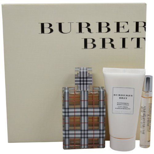 Burberry Brit for Women Gift Set (Eau de Parfum Spray 1.7 ounce, Lotion, Eau de Parfum Spray 0.25 ounce) by Burberry. $50.00. Launched by the design house of Burberry in the year 2003. This feminine fragrance features a blend of almonds, limes, pears, and vanilla. It is recommended for daywear.