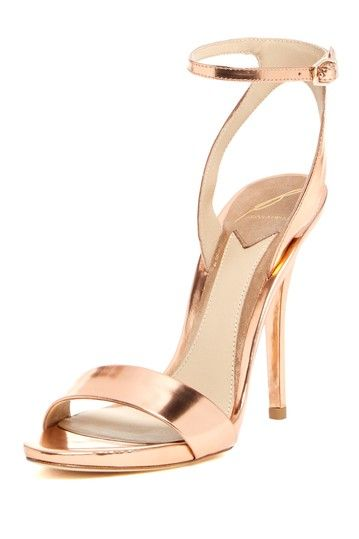 Brian Atwood rose gold sandals