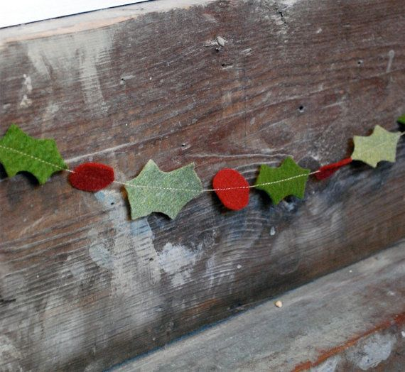 DIY Christmas party decor - Christmas Garland Felt Holly  Rustic HandCut by thecleverlife, $13.00