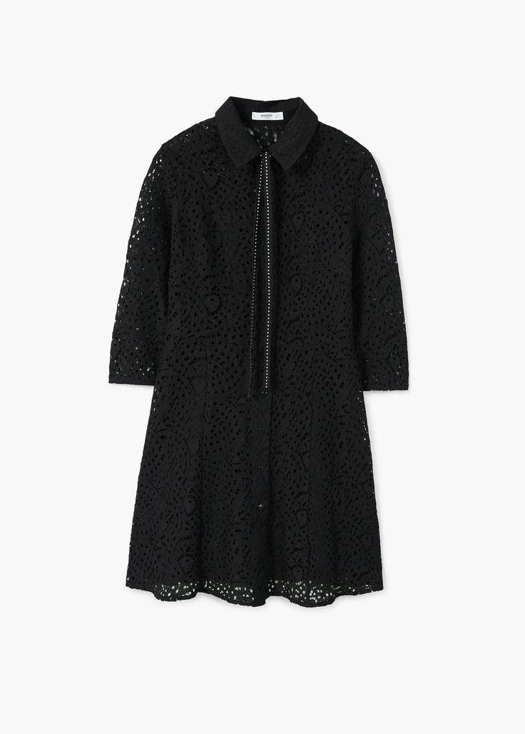 Bawełniana sukienka gipiur   MANGO