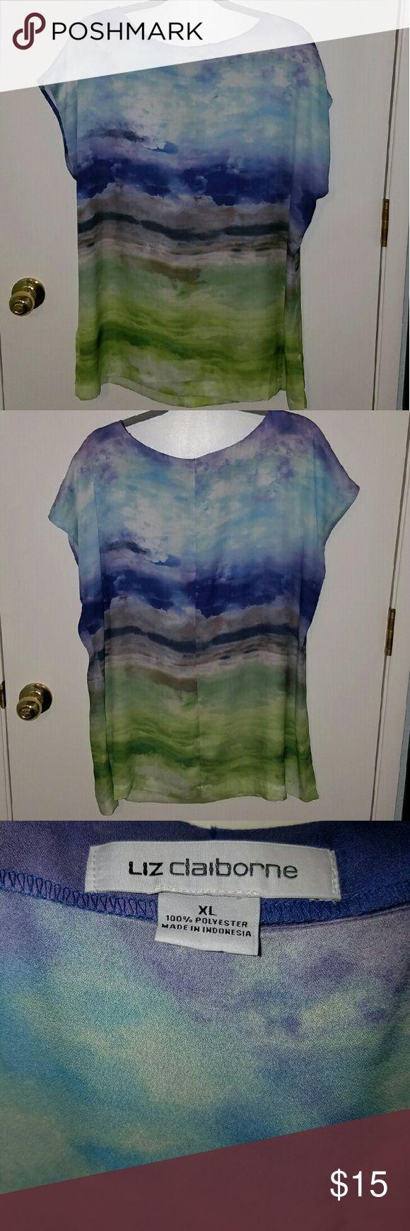 Liz Claiborne short sleeve blouse Liz Claiborne short sleeve blouse. Looks like a water color painting. Excellent condition. Liz Claiborne Tops Blouses