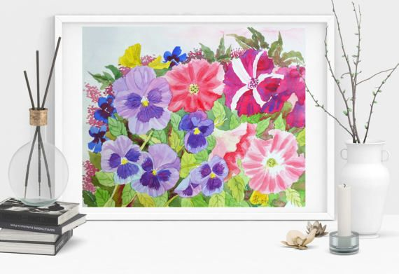 Pansies in my Garden. Watercolor  Original flower by NataliaPiache