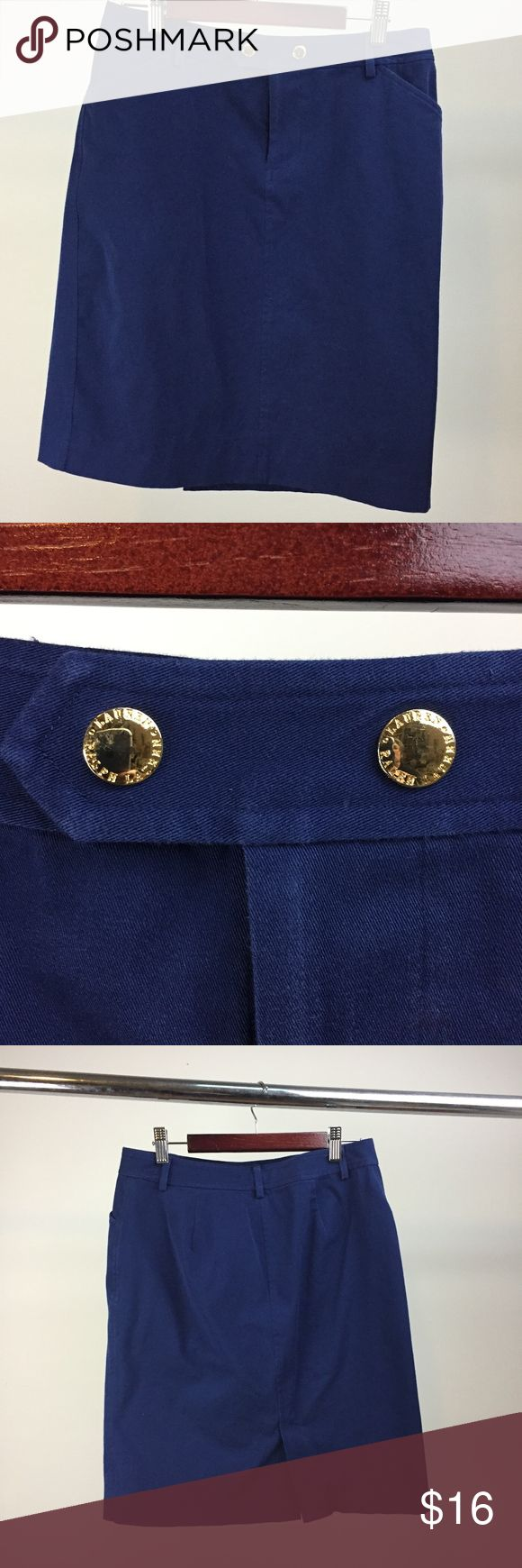 """Lauren RL Stretch Twill Skirt Bright navy, cotton twill with plenty of lycra for stretch and gold-tone buttons for a preppy/nautical vibe.  This skirt flat-measures 29"""" in waist, 38"""" in hips and 20"""" in length.  It has a back vent for 5.5."""" Lauren Ralph Lauren Skirts Midi"""