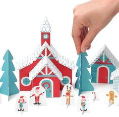 Printable holiday crafts: Santa's village by Pukaca on Etsy. So cute!