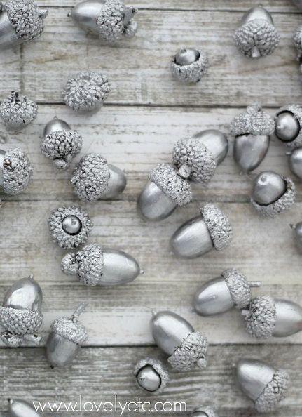 holiday decor acorns liquid silver leaf, crafts, seasonal holiday decor. Maybe string them as a garland.