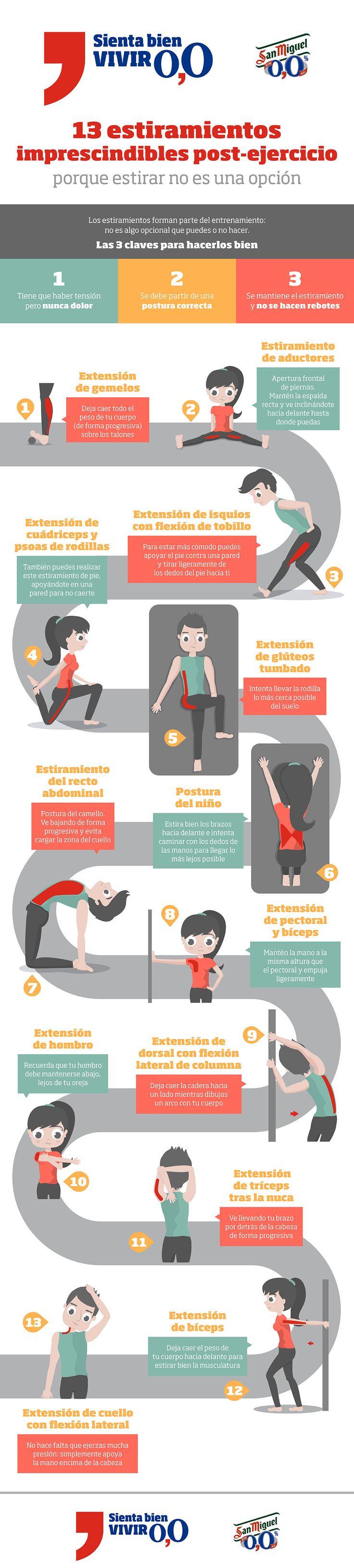 Cómo y cuándo debemos hacer los estiramientos para beneficiarnos de sus efectos. 13 estiramientos distintos para realizar después de hacer ejercicio.