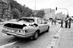 U.S. Army Europe Gen. Frederick Kroesen and his wife, Rowena, were being driven to the dentist in Heidelberg when their armor-plated car was hit by a rocket-propelled grenade in Sept. 1981. The couple received minor injuries.