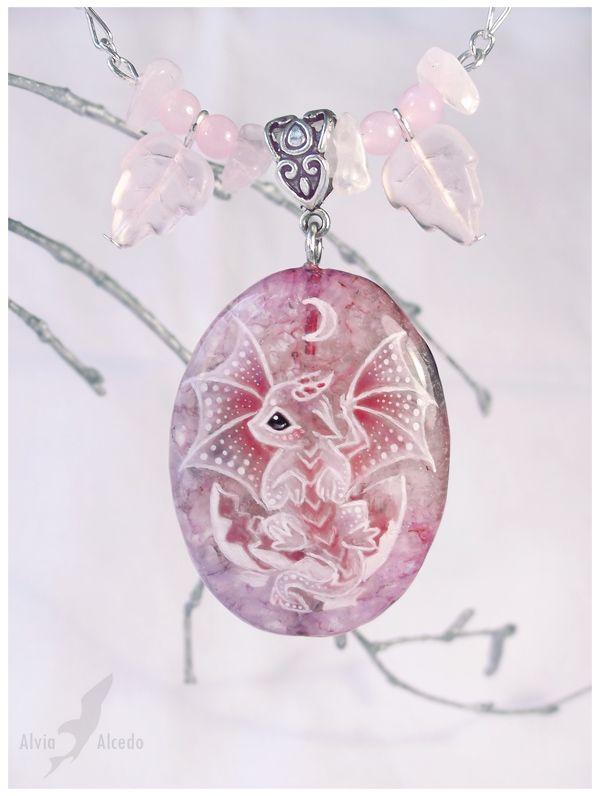 Hatchling lunar  dragon - stone painting necklace by AlviaAlcedo.deviantart.com on @deviantART