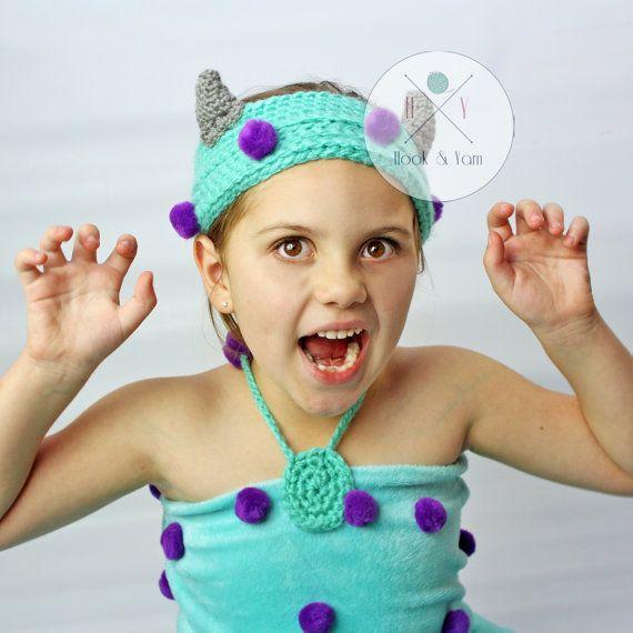Sully Monster  headband Sullivan blue monster by ReneesHOOKnYARN