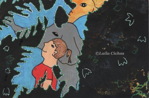 """Walking the elephants"". Acrylic on paper. Akryl på papir."