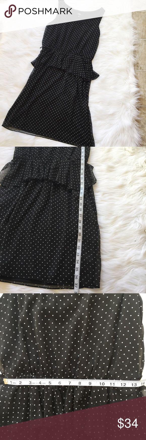 """MSK Polka Dotted Black Empire Mini Flow Dress Measurements: Chest: 35"""", Waist: 25"""", Length: 37"""" Condition: Excellent! Size: 10 Petite Dresses Mini"""