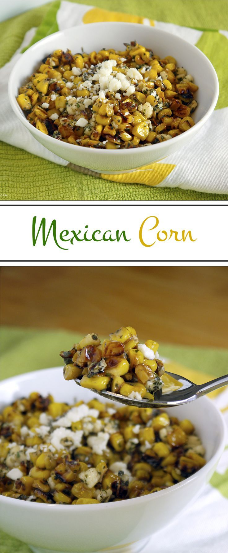 Mexican Grilled Corn: Sweet, salty and cheesy with a little bit of a kick. The perfection of Mexican street corn in a bowl. Easier to eat, but just as delicious! | Stress Baking