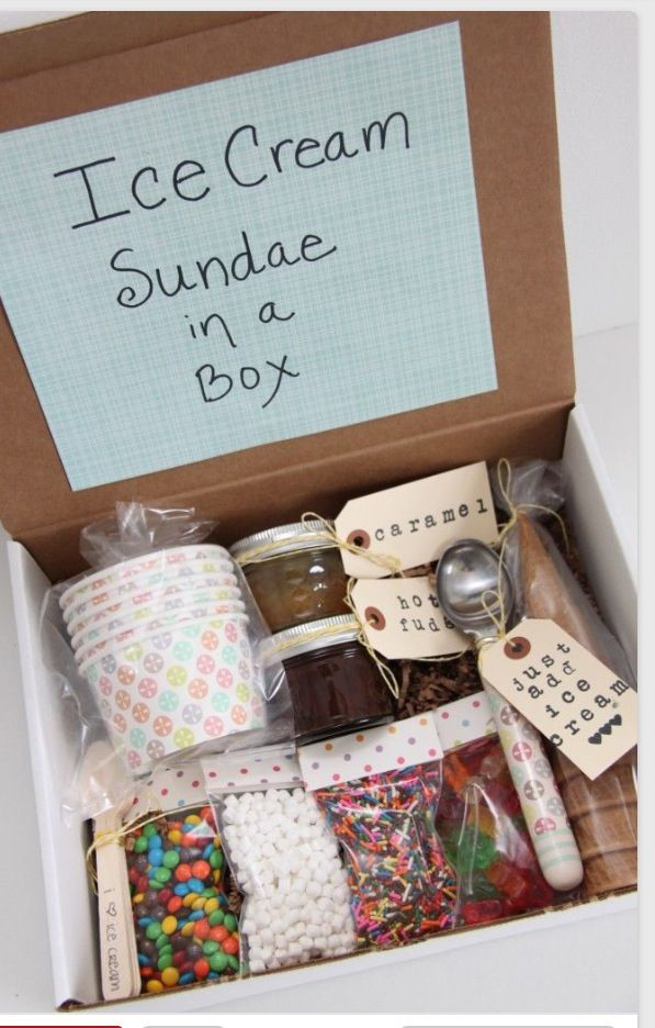 Ice cream Sunday in a box great gift idea.                                                                                                                                                                                 More