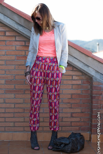 Navajo print and fluor. these pants are really cool