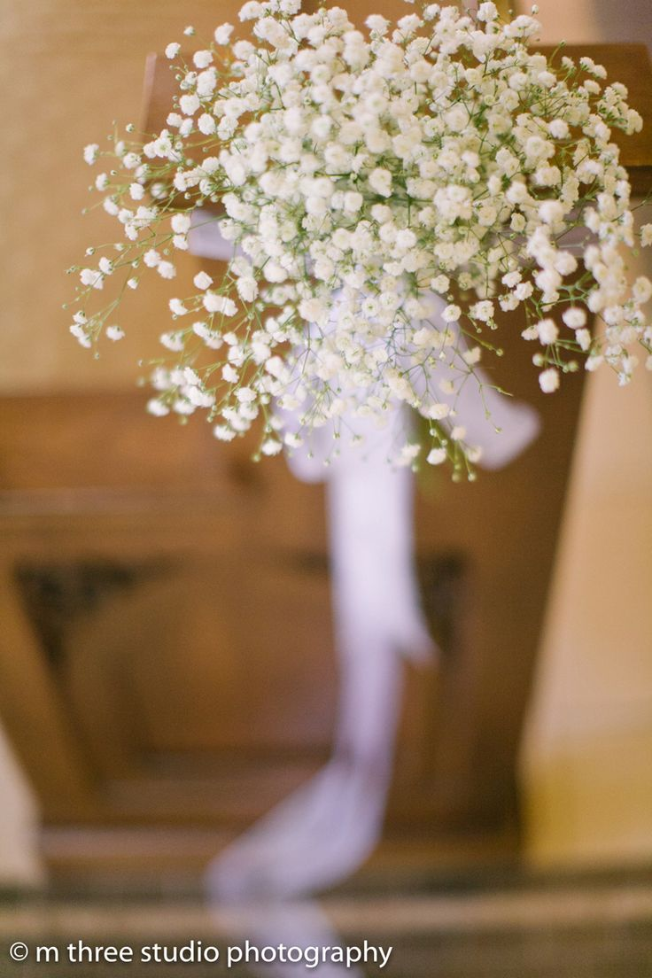 Baby's Breath Aisle Decor in Elegant Wedding Ceremony | The Majestic Vision Wedding Planning | St Jerome Catholic Church in Milwaukee, WI | www.themajesticvision.com | M Three Studio