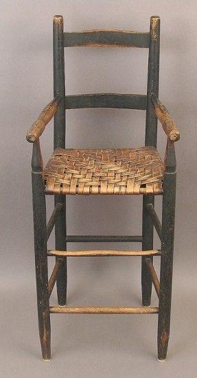 Child's Slat Back Arm High Chair, c 1800