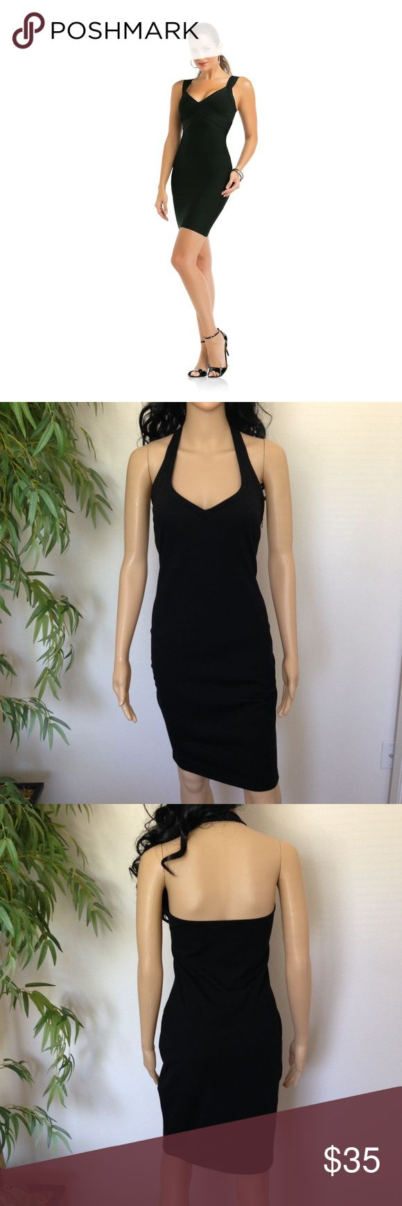 "Halter Top Sexy Little Black Dress size Large Final Price!!! Brand new little black dress super sexy halter top style open back 30"" in length with lots of stretch to it No Trades Kardashian Kollection Dresses"