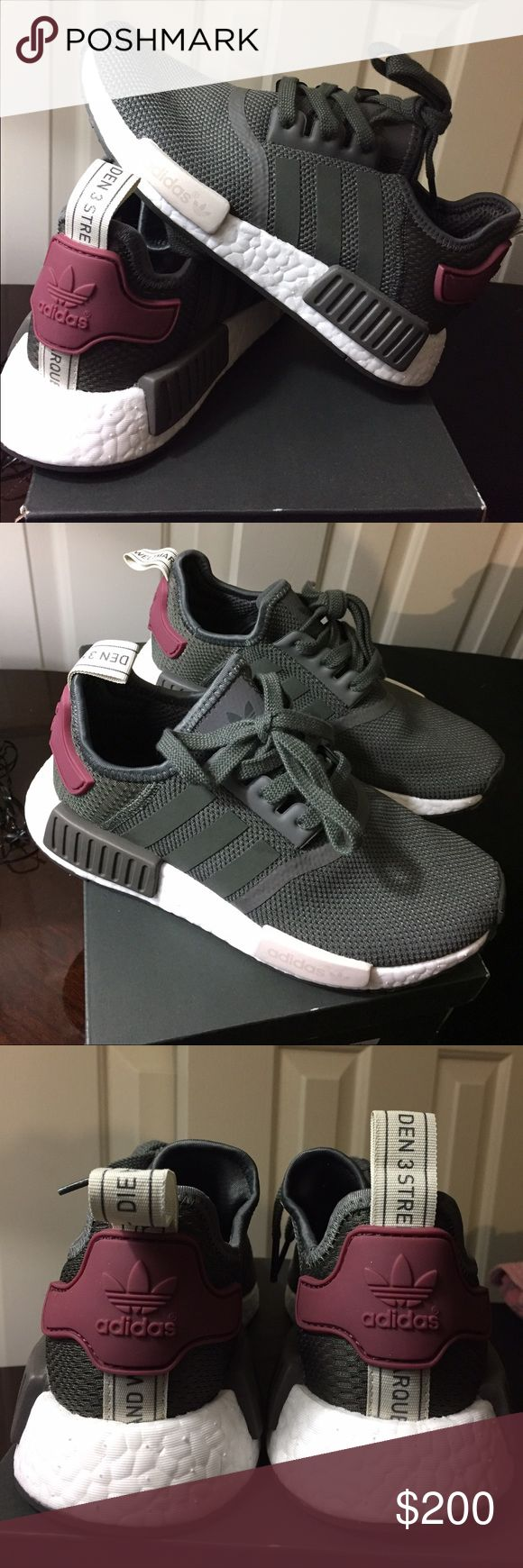 Adidas NMD R1 NEW NEW Adidas NMD R1 Size 5.5 Color: Utility Gray/Maroon (BA7752) I bought it from Adidas website Adidas Shoes Sneakers