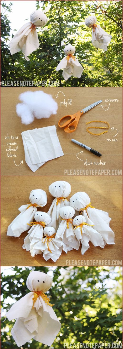 simple fabric ghosts ghosts diy crafts for halloween. Click www.faveed.com for more craft ideas! #halloween