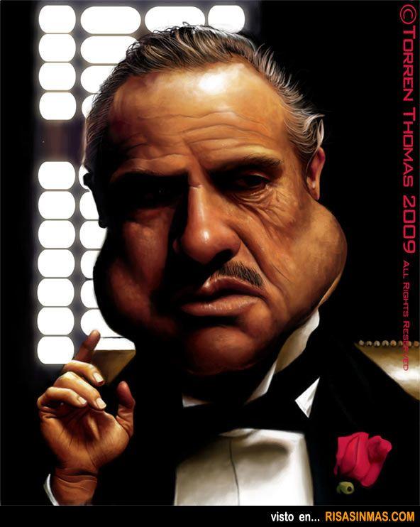 Caricatura de Marlon Brando (El padrino).