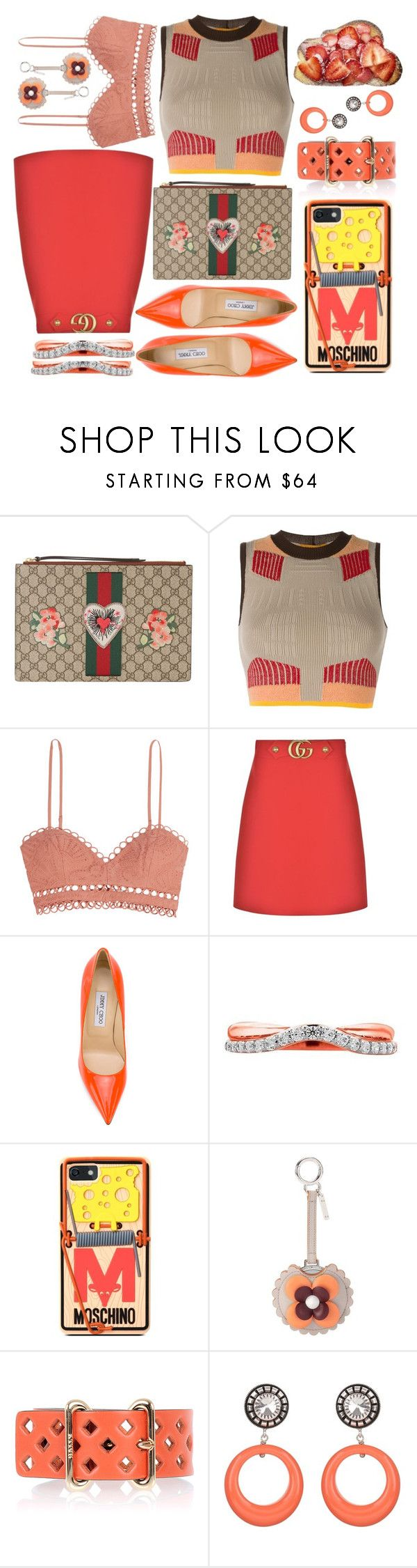 """""""Wednesday"""" by sunnydays4everkh ❤ liked on Polyvore featuring Gucci, Yeezy by Kanye West, Zimmermann, Jimmy Choo, Moschino, Fendi, Bally and Julie Sion"""