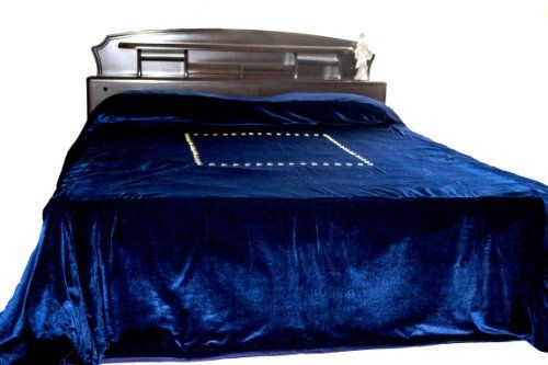 "Luxury Navy Blue Bed Cover with Gold Sequin Hand Embroidery - Couture Bedspread in Luxe Velvet - Duvet Cover - Handcrafted and Hand Embroidered - King Bedspread 110"" X 96"" Amore Beaute http://www.amazon.com/dp/B00HO2YHWE/ref=cm_sw_r_pi_dp_aMqkub1R14Q1B"