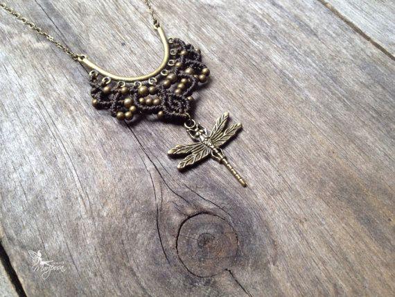 Micro macrame necklace macrame pendant long by creationsmariposa, $30.00