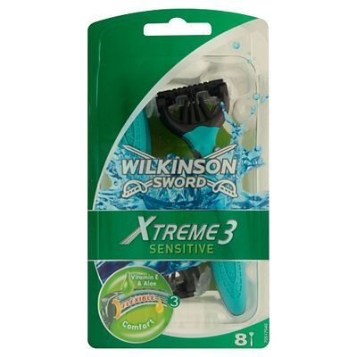 Wilkinson Sword Xtreme 3 Disposable Razors- 20 Advantage card points. Wilkinson Sword Xtreme 3 Disposable Razors- Sensitive 8 pack give the performance of a premium razor with the convenience, hygiene and value of a disposable. FREE Delivery on http://www.MightGet.com/april-2017-1/wilkinson-sword-xtreme-3-disposable-razors-.asp