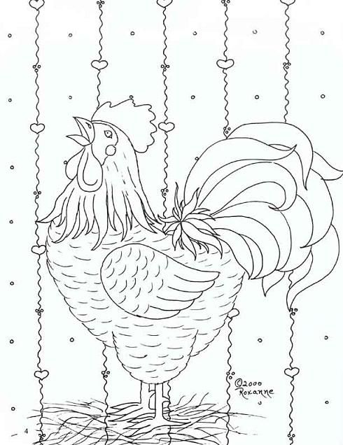 rooster embroidery pattern