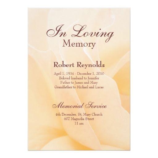 16 best Funeral service cards images on Pinterest Cards - memorial service invitation sample