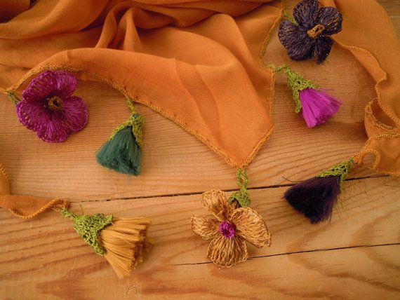 mustard yellow triangular scarf flowers tassels by PashaBodrum
