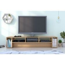 DecoElegance 110005 Rustik 72-inch TV Stand, Natural Maple