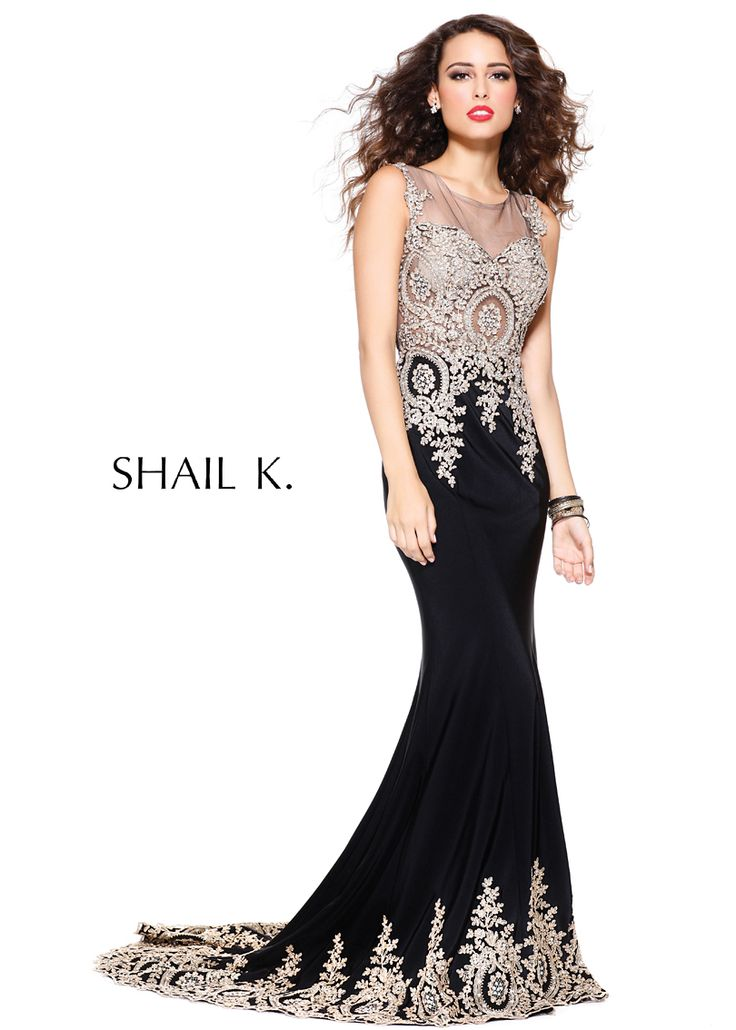 Classic And Edgy -  Elegant Beaded Black Gown (Shail K. 3912) RissyRoos.com