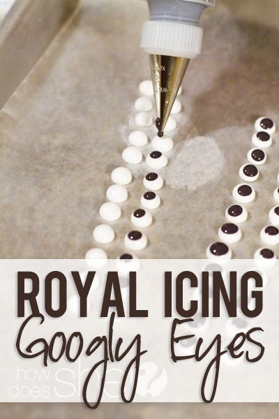 DIY Royal Icing Googly Eyes - Use flooding consistency, 5-10 sec to get smooth; have both colors ready, they won't bleed - Black icing: make a batch using some cocoa powder instead of powdered sugar.  Will use less dye.  Or first add a dark dye, like blue or brown and then add black. Americolor is the best color