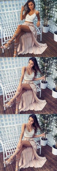Two Piece Spaghetti Straps Pearl Pink Elastic Satin Prom Dress with Lace M0313#prom #promdress #promdresses #longpromdress #promgowns #promgown #2018style #newfashion #newstyles #2018newprom#eveninggowns#twopiecesprom#spaghettistraps#pearlpink#satinprom#lace
