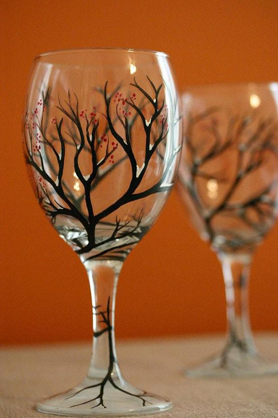 Snowbound Branches Hand Painted Wine Glasses - without the snow and berries it would make a good Halloween glass