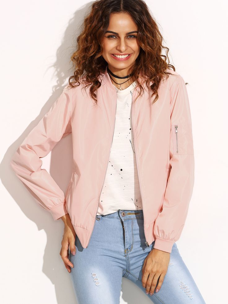 Buy it now. Pink Zip Up Bomber Jacket With Arm Pocket. Pink Polyester Casual Stand Collar Short Zipper Fall Plain Fabric has no stretch Jackets. , chaquetabomber, bómber, bombers, elbowdiamond, baseball. Hot pink SheIn  bomber jacket  for woman.