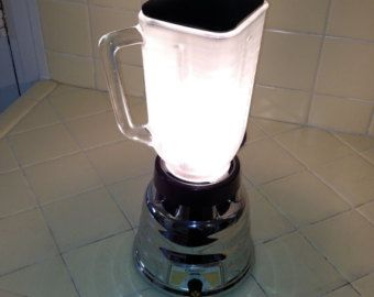 electric blender repurposed as desk lamp